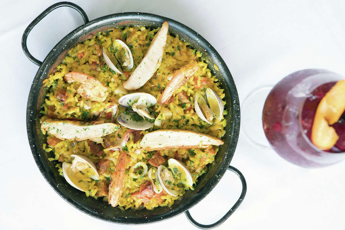 Paella at Ibiza Food and Wine Bar 2450 Louisiana The Sunday-only paella, $25 per person, may not be on the menu at Ibiza in Midtown but you have only ask for it and it's yours. It's made with Gulf shrimp, mussels, calamari, Spanish sausage, chicken and Italian short-grain rice.