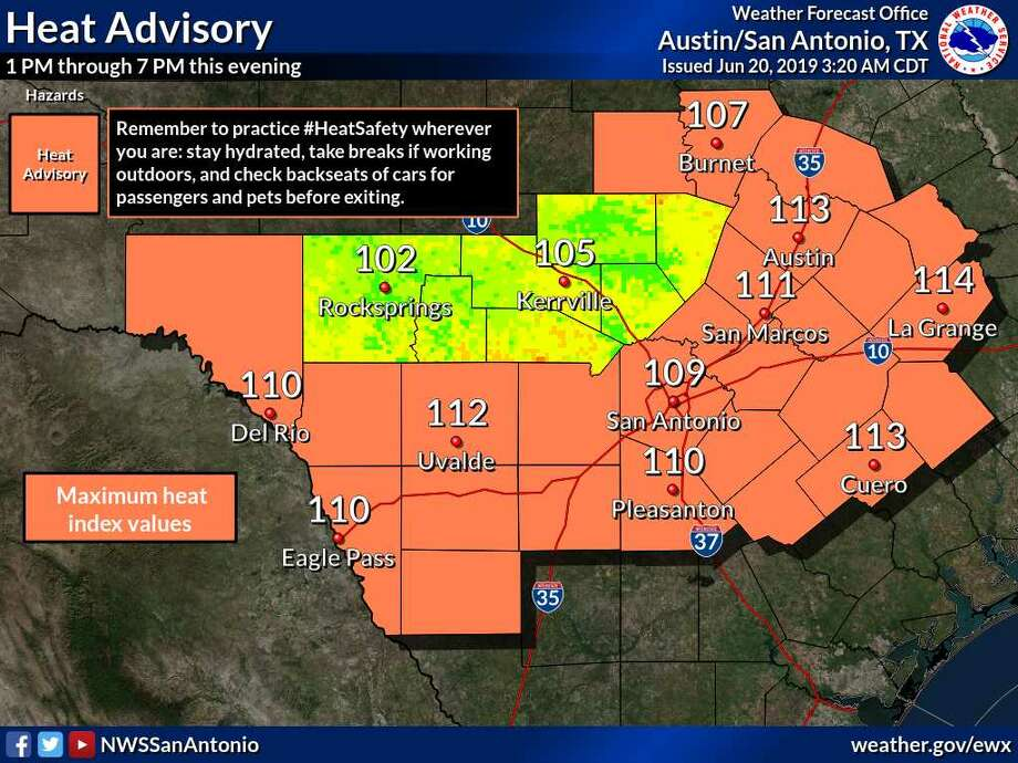 The National Weather Service issued a heat advisory in San Antonio for the second consecutive day. The heat index is expected to reach 109 degrees in the Alamo City. Photo: National Weather Service