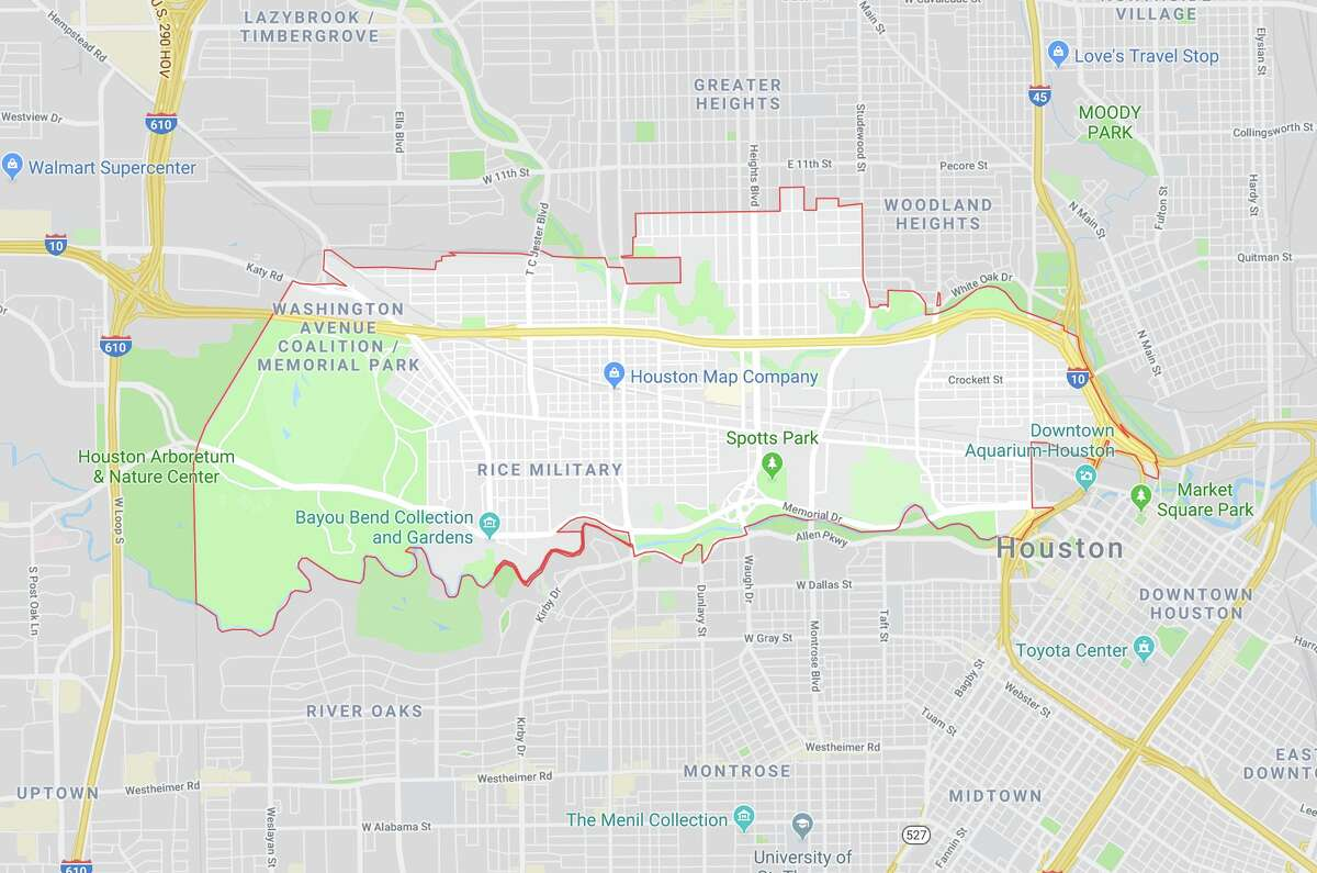 Zip code 77007 in Houston is shown on Google Maps.