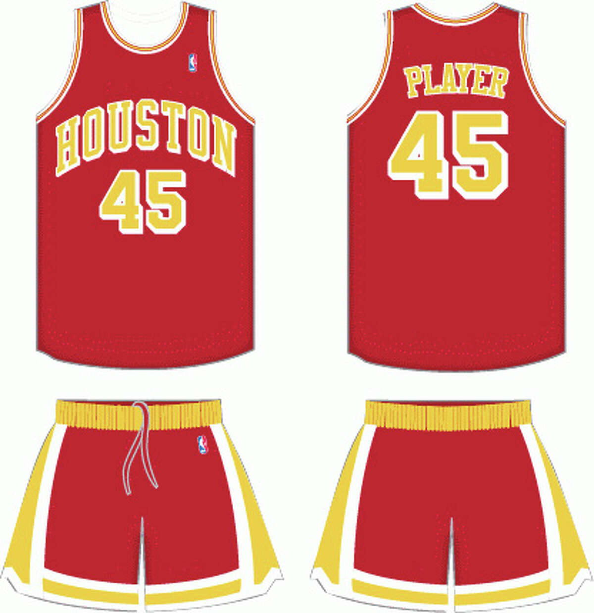 1971-72: Gold lettering The Rockets' first season in Houston had them basically wearing the same design on their jerseys as they wore in San Diego, except the colors were switched to red and yellow from San Diego's green and gold.