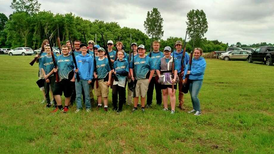 The Midland High School trap shooting team competed at the state tournament June 15 in Mason. Several members of the team will return to Mason from July 10-14 to compete at the national tournament. (Photo provided)
