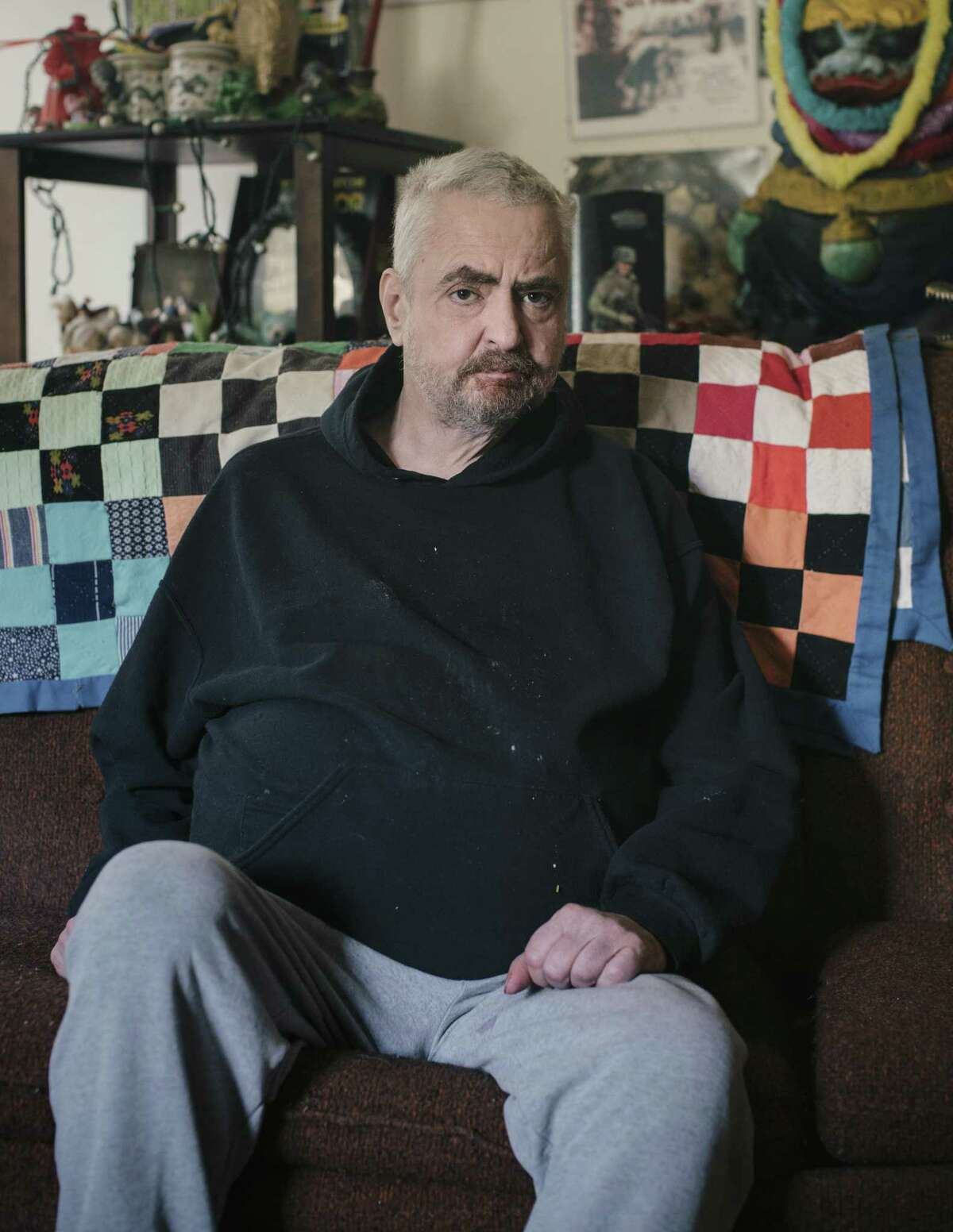 Daniel Johnston, a singer-songwriter, at home in Waller, Texas, Sept. 26, 2017. Johnston has battled manic depression and schizophrenia most of his adult life, and in recent years endured multiple physical ailments, including diabetes, a kidney infection and hydrocephalus, but will soon go on tour that some have billed as his last. (Bryan Schutmaat/The New York Times)