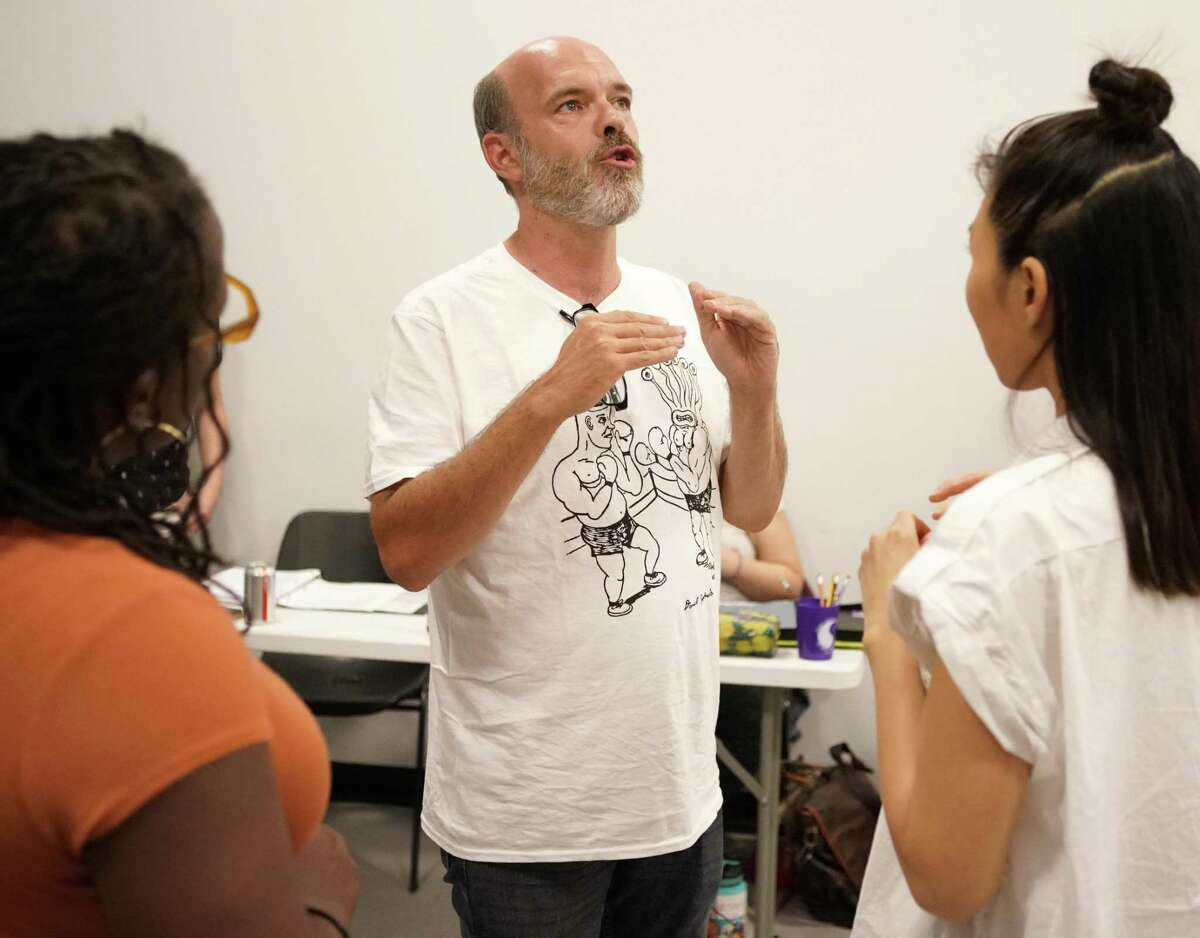 Jason Nodler talks with actors during the Catastrophic Theatre rehearsal of Speeding Motorcycle Thursday, June 13, 2019, in Houston.