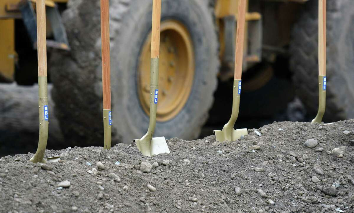 Shovels are aligned for the groundbreaking for Vicina Modern Urban Flats on Thursday, June 20, 2019 at 100 Congress St in Troy, NY. (Phoebe Sheehan/Times Union)