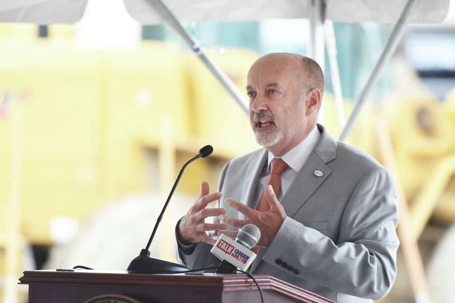 Troy Mayor Patrick Madden gives a speech during the groundbreaking for Vicina Modern Urban Flats on Thursday, June 20, 2019 at 100 Congress St in Troy, NY. (Phoebe Sheehan/Times Union) Photo: Phoebe Sheehan, Albany Times Union / 20047297A
