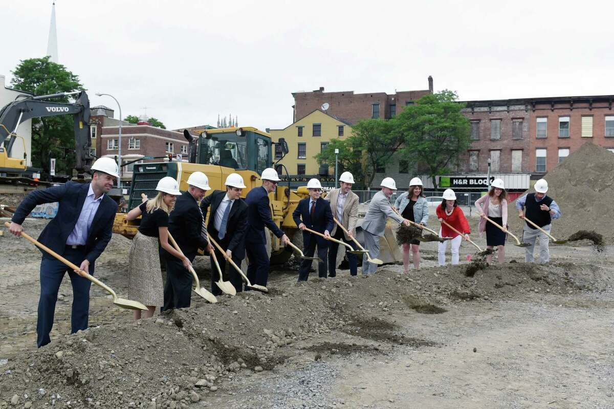 The groundbreaking ceremony takes place for Vicina Modern Urban Flats on Thursday, June 20, 2019 at 100 Congress St in Troy, NY. (Phoebe Sheehan/Times Union)