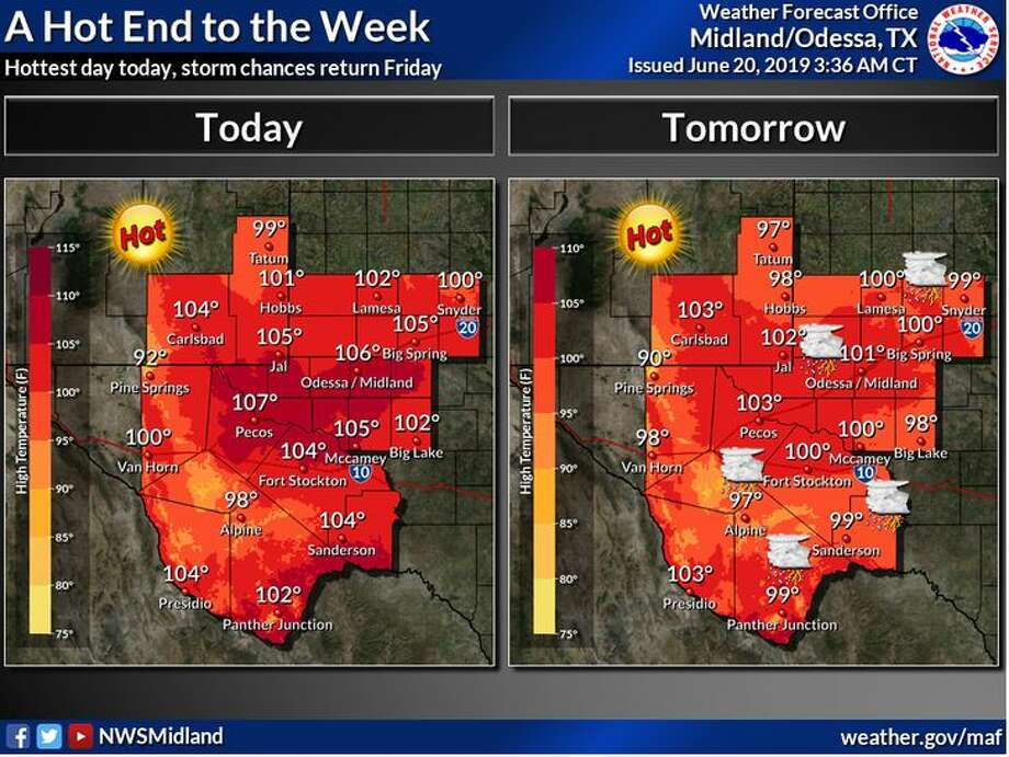 Today will be the hottest day, though storm chances will return across the Permian Basin, Trans Pecos, and south across the Davis Mountains to the Rio Grande on Friday afternoon. Some of these storms could become strong to severe. Photo: National Weather Service