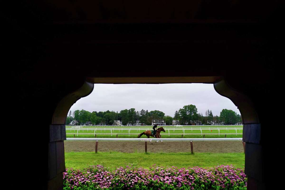A horse is taken through a workout on the Oklahoma Training Track on Thursday, June 20, 2019, in Saratoga Springs, N.Y. (Paul Buckowski/Times Union)