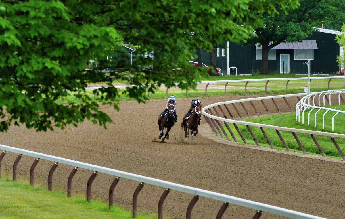Horses are taken through a workout on the Oklahoma Training Track on Thursday, June 20, 2019, in Saratoga Springs, N.Y. (Paul Buckowski/Times Union)