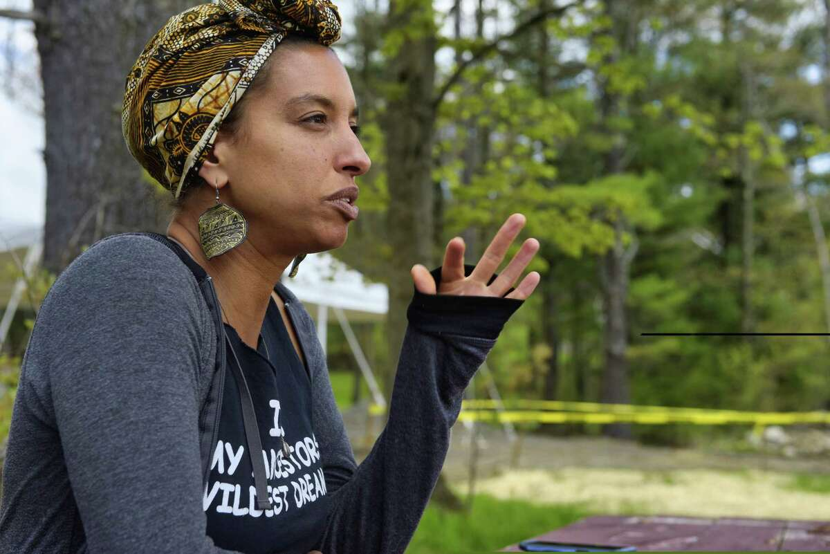 Leah Penniman, co-founder and co-director of Soul Fire Farm, talks about the farm during an interview on Thursday, May 16, 2019, in Petersburg, N.Y. (Paul Buckowski/Times Union)