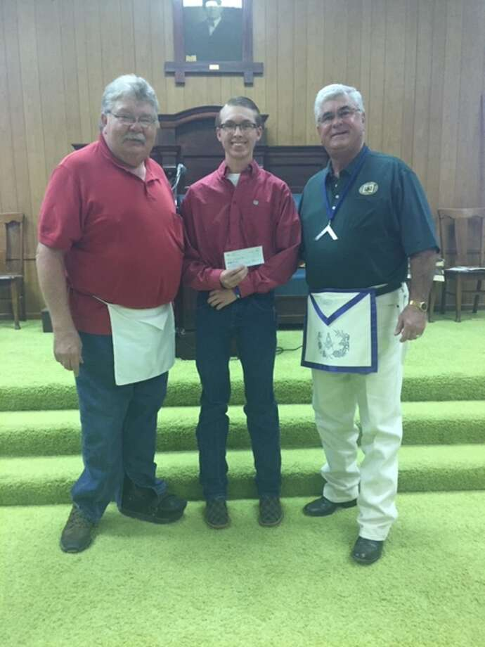 Luke Myrick with Granddad Rick Sisemore and Erie Gandy, with the Plainview Masonic Lodge. Photo: Courtesy Photos/Plainview Masonic Lodge 709