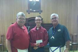 Luke Myrick with Granddad Rick Sisemore and Erie Gandy, with the Plainview Masonic Lodge.
