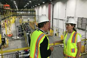 A tour of progress on Amazon's upcoming fulfillment center in North Haven.