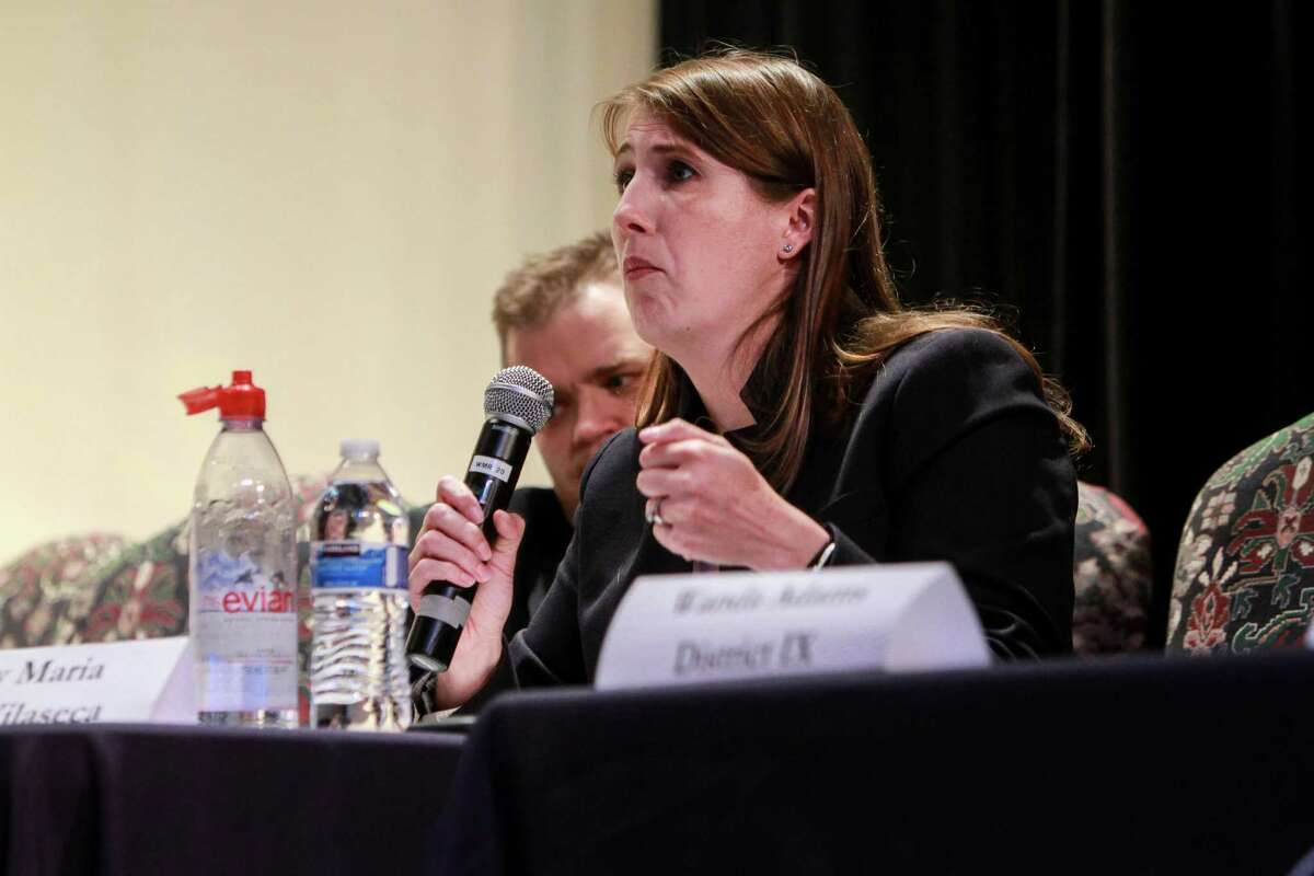 In this 2017 file photo, Houston ISD Trustee Holly Maria Flynn Vilaseca speaks during a candidate debate at Lamar High School.