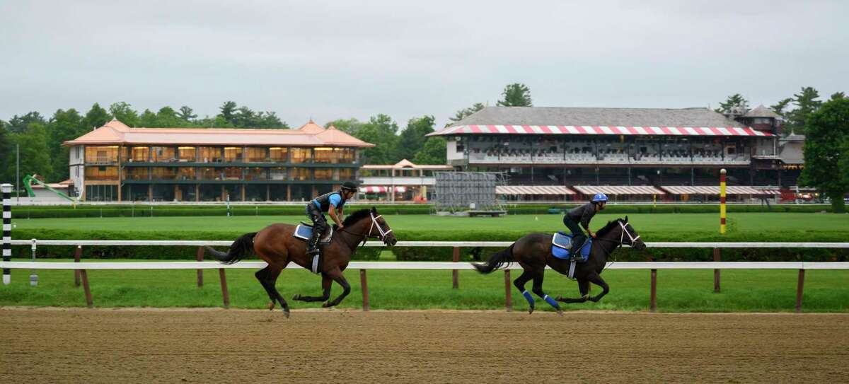 Horses trained by Kiran McLaughlin go out on the main track for the first time this season as the Main track at the Saratoga Race Course opens officially for training Thursday June 20, 2019 in Saratoga Springs, N.Y. The 2019 season opens July 11 and runs through September 2nd. Photo Special to the Times Union by Skip Dickstein.