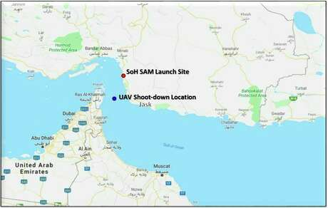 This map provided by the Department of Defense, Thursday, June 20, 2019, shows the site where they say a U.S. Navy RQ-4 drone was shot down. The Department of Defense says the drone was flying over the Gulf of Oman and the Strait of Hormuz on a surveillance mission in international airspace in the vicinity of recent IRGC maritime attacks when it was shot down by an IRGC surface to air missile fired from a launch site in the vicinity of Goruk, Iran. (Department of Defense via AP)