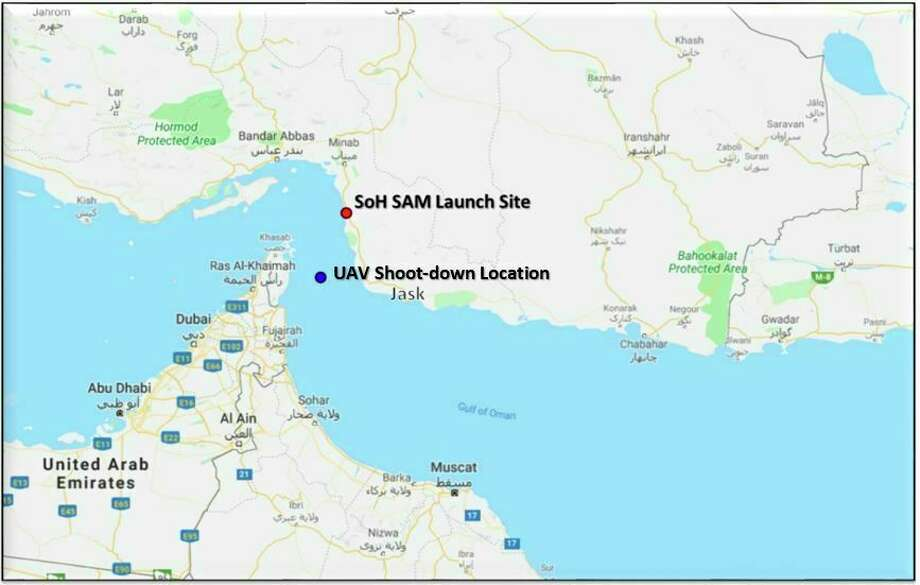 This map provided by the Department of Defense, Thursday, June 20, 2019, shows the site where they say a U.S. Navy RQ-4 drone was shot down. The Department of Defense says the drone was flying over the Gulf of Oman and the Strait of Hormuz on a surveillance mission in international airspace in the vicinity of recent IRGC maritime attacks when it was shot down by an IRGC surface to air missile fired from a launch site in the vicinity of Goruk, Iran. (Department of Defense via AP) Photo: Donnal, Caroline E 1st Lt USAF USCENTCOM CCJ2, AP / Department of Defense