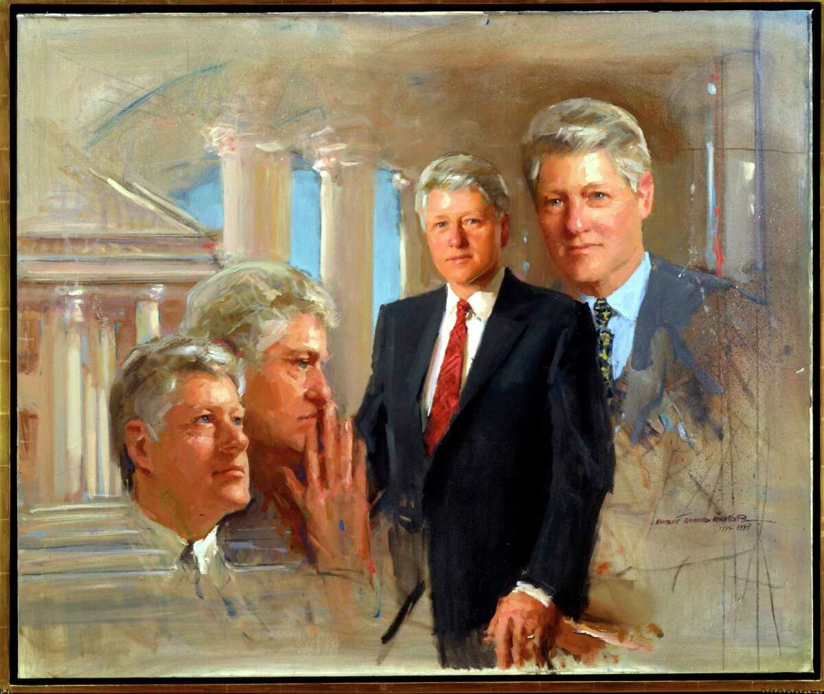 """""""Portrait Study of President William Jefferson Clinton, 1995-97,"""" oil on canvas, by portrait artist Everett Raymond Kinstler. Kinstler died May 26, 2019, in Bridgeport and one of his last known contributions was writing the forward to James Philip Head's 2019 book """"An Affair with Beauty - The Mystique of Howard Chandler Christy: Romantic Illusions."""""""