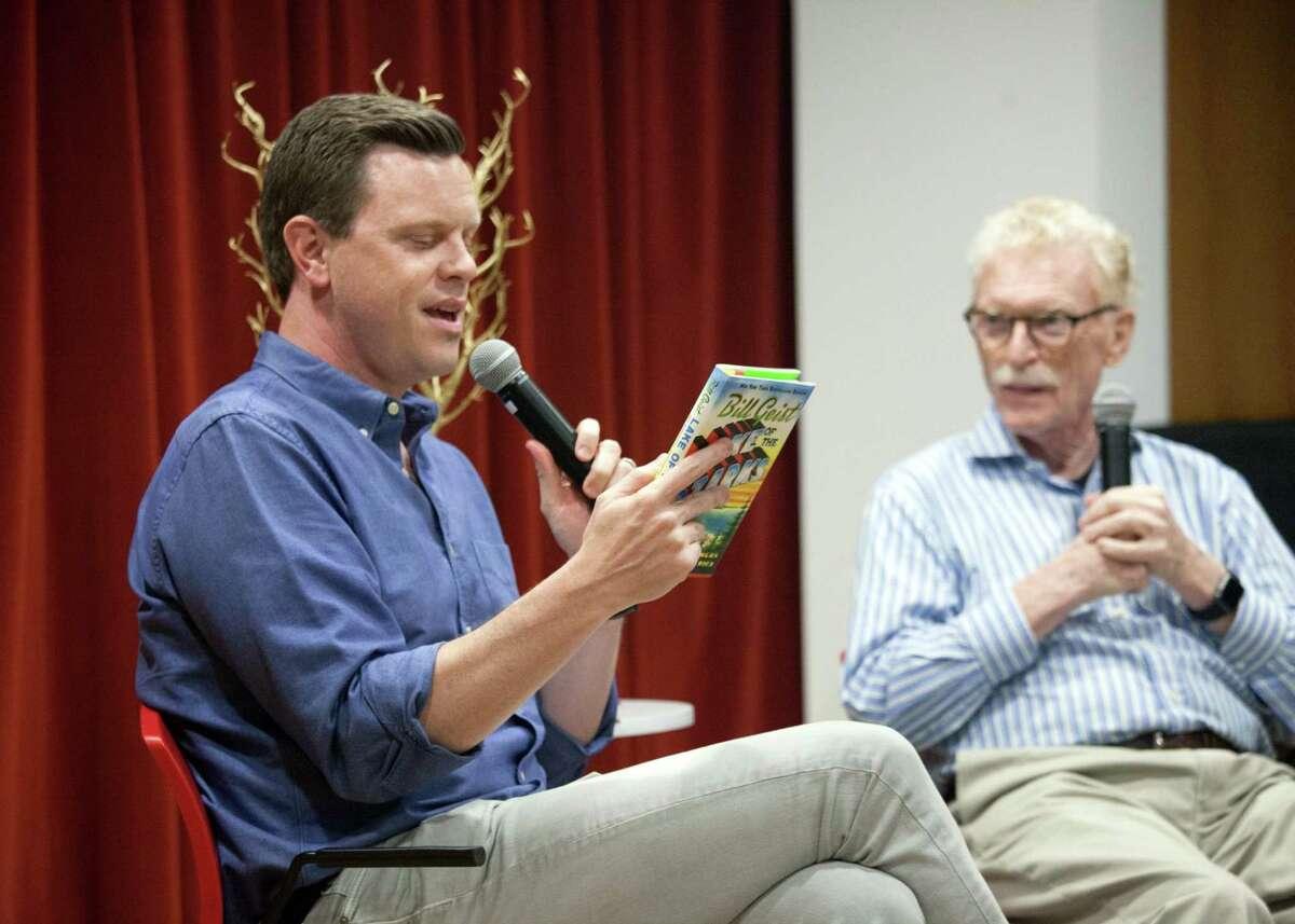 Willie Geist, co-host of MSNBC's Morning Joe, interviewed his father Bill Geist, who is a New York Times-bestselling author and former journalist for the CBS Sunday Morning, at the New Canaan Library on May 19.
