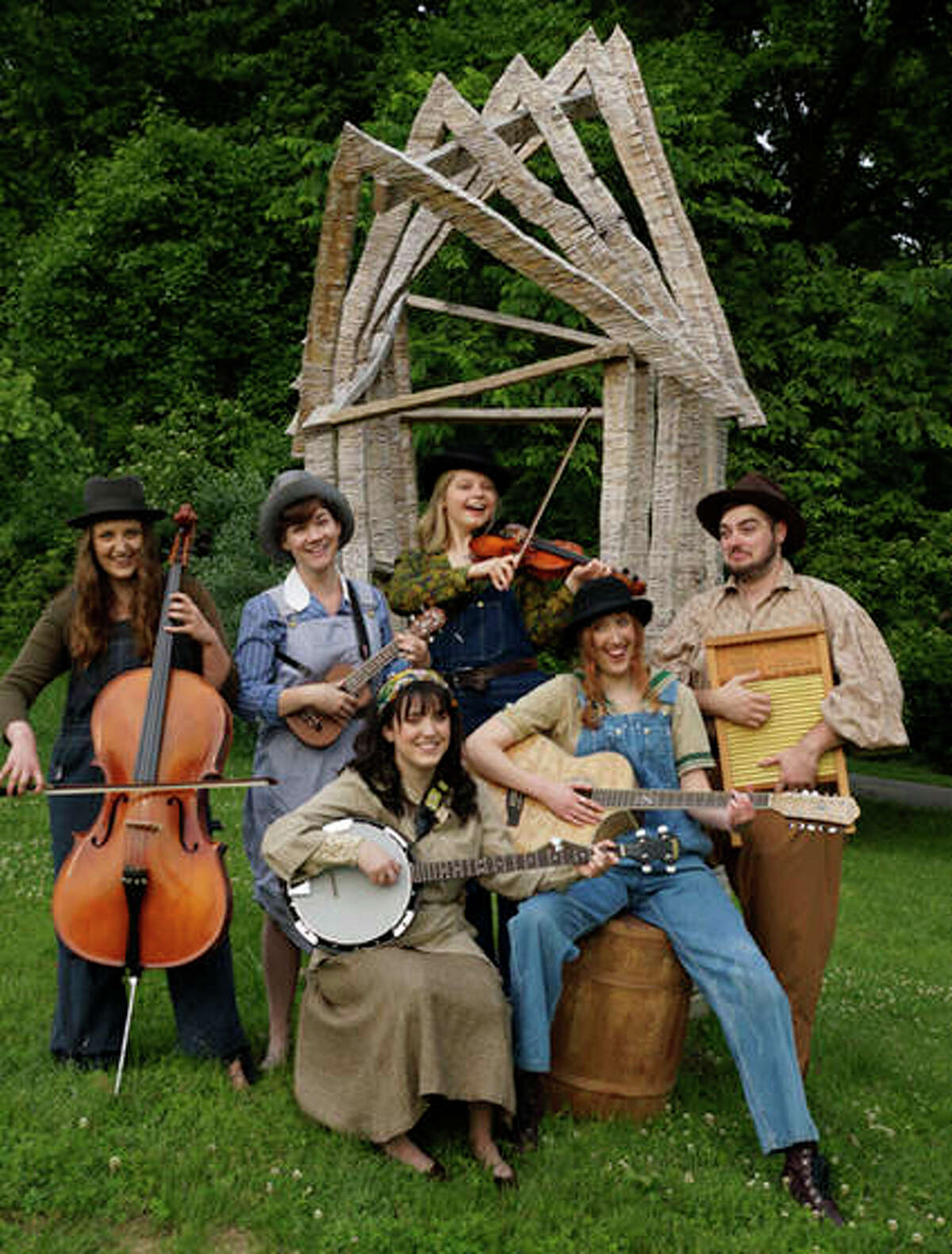 """SIUE Students performing in Shakespeare's """"As You Like It"""" include: (front row L-R) Summer Baer (banjo) and Lisa Hinrichs (guitar). (Back row L-R): Sara Naumann (cello), Ashley Bauman (ukulele), Sarah Lantsberger (fiddle) and David Zimmerman (washboard)."""