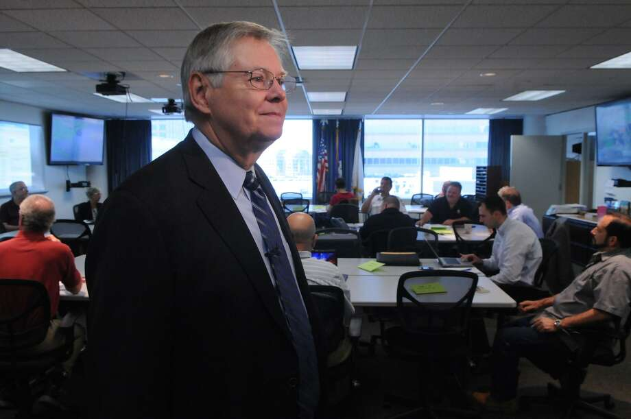 Mayor David Martin joins city officials in the Emergency Operation Center on the 6th floor of the Government Center to practice emergency preparedness plans in Stamford, Conn., June 23, 2014. The exercise tested response and coordination in the event of a category 1 hurricane. The drills were practiced statewide and were coordinated by the Department of Emergency Services and Public Protection's Division of Emergency Management and Homeland Security. Photo: Keelin Daly / Hearst Connecticut Media File Photo / Stamford Advocate Freelance