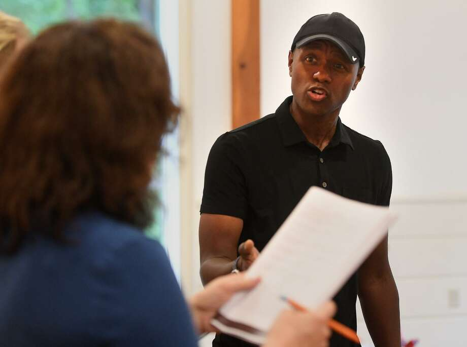"""Winner of television's """"The Voice"""", Javier Colon, of Stratford, rehearses in the lead role of P.T. Barnum in a production of """"Barnum: the Musical"""" at the Fairfield Museum in Fairfield, Conn. on Sunday, June 16, 2019. Photo: Brian A. Pounds / Hearst Connecticut Media / Connecticut Post"""