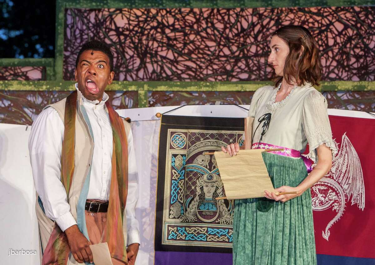 """Ian Eaton and Uma Incrocci will star in Dandelion Productions' CT Free Shakespeare production of """"The Complete Works of William Shakespeare (Abridged)"""" on the University of Bridgeport campus Aug. 1-4."""