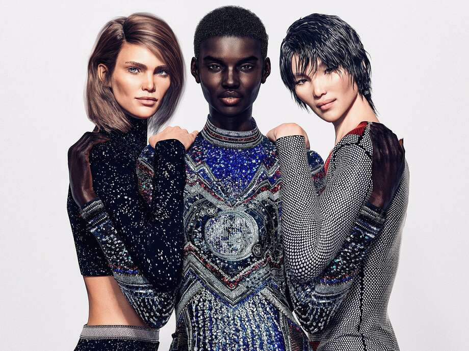 "An image provided by Balmain shows digital models, including, from left, Margot, Shudu and Zhi.  Balmain commissioned the former fashion photographer Cameron-James Wilson to create a ""virtual army"" of digital personalities. Virtual influencers are on the rise, and come with an advantage for the companies that use them: They are less regulated than their human counterparts. And the people controlling them aren't required to disclose their presence. (Balmain via The New York Times) -- NO SALES; FOR EDITORIAL USE ONLY WITH NYT STORY VIRTUAL INFLUENCERS BY TIFFANY HSU FOR JUNE 17, 2019. ALL OTHER USE PROHIBITED. -- Photo: Balmain, NYT"
