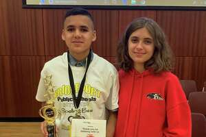 Bridgeport's new citywide spelling champ, Kelvyn Velazquez, a seventh grader at High Horizons Magnet School,