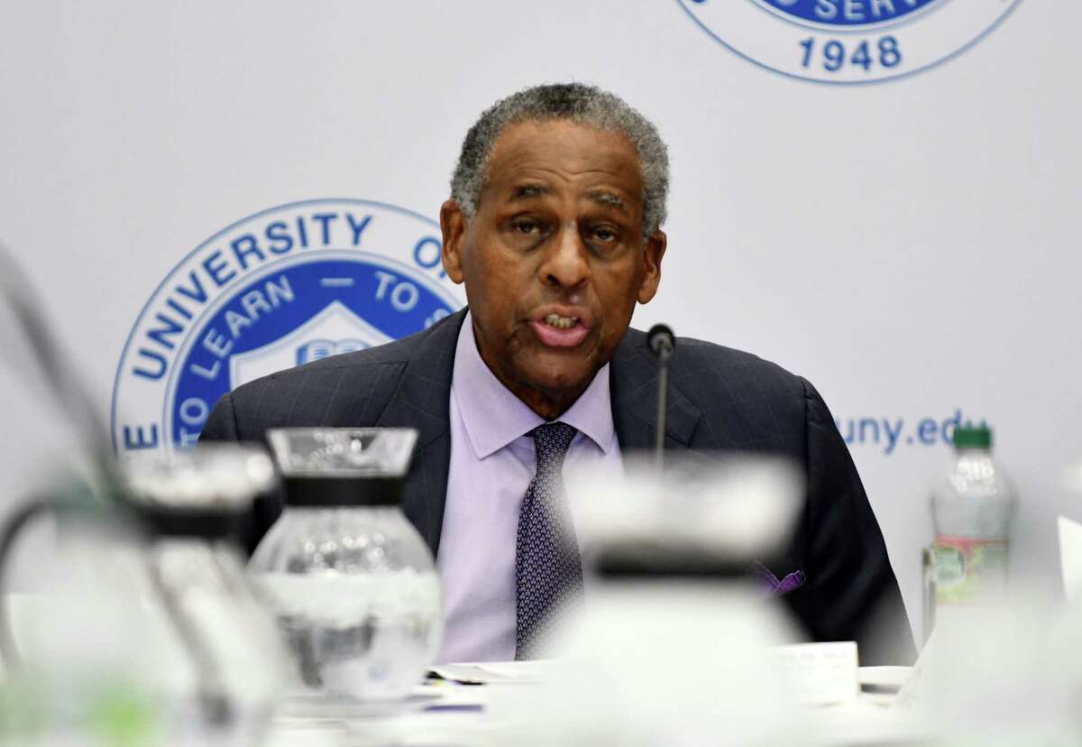 H. Carl McCall addresses the SUNY board of trustees during his final meeting as board chairman on Thursday, June 20, 2019, at State University Plaza in Albany, N.Y. He was state comptroller, a state senator and gubernatorial candidate. (Will Waldron/Times Union)