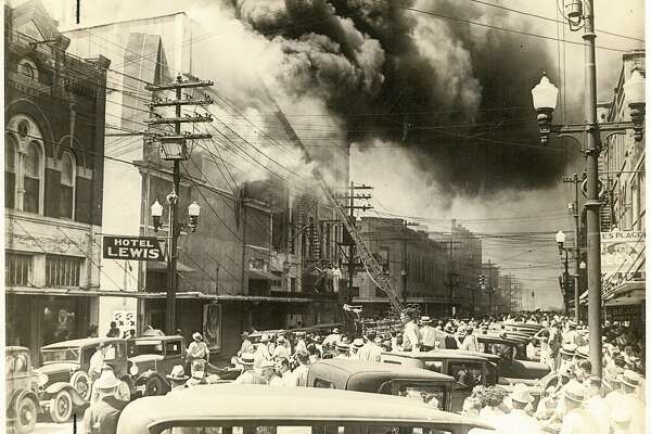 A 1934 photo of the Liberty Theater on fire Beaumont. Enterprise Archive Photo
