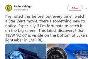 I've noted this before, but every time I watch a Star Wars movie, there's something new to notice. Especially if I'm fortunate to catch it on the big screen. This latest discovery? that 'NEW YORK' is visible on the bottom of Luke's lightsaber in EMPIRE.  Twitter account: @pablohidalgo