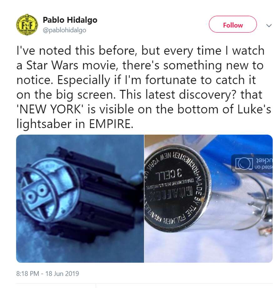 I've noted this before, but every time I watch a Star Wars movie, there's something new to notice. Especially if I'm fortunate to catch it on the big screen. This latest discovery? that 'NEW YORK' is visible on the bottom of Luke's lightsaber in EMPIRE.  Twitter account: @pablohidalgo Photo: Twitter Screenshot