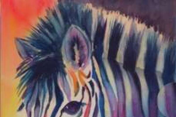 """During June's First Friday Watercolor adult class for ages 14 and older, students painted along with watercolor artist and instructor Marty Spears, whose painting is pictured. Students painted their own """"Zany Zebra."""""""
