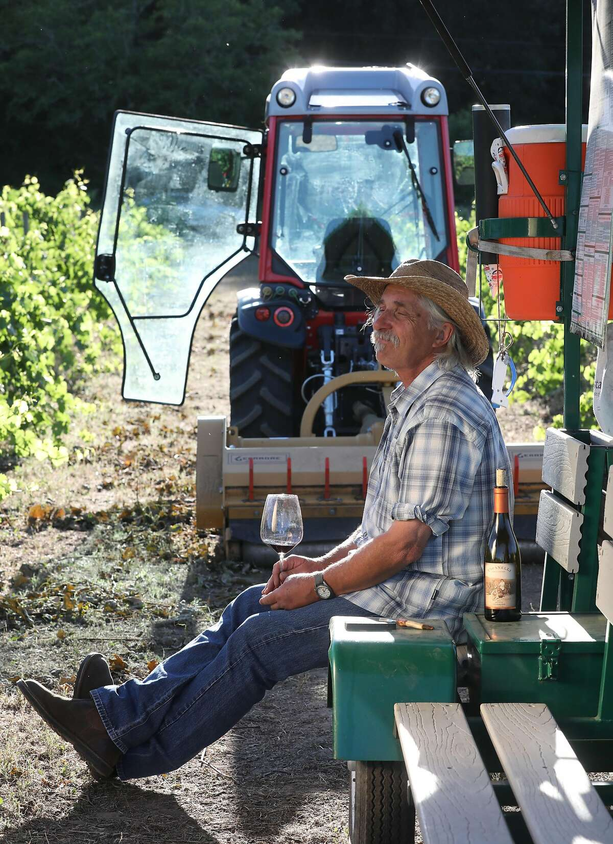 Vincent Toffanelli in his carbono vineyard at the end of the day on Thursday, June 6, 2019 in Calistoga, Calif.