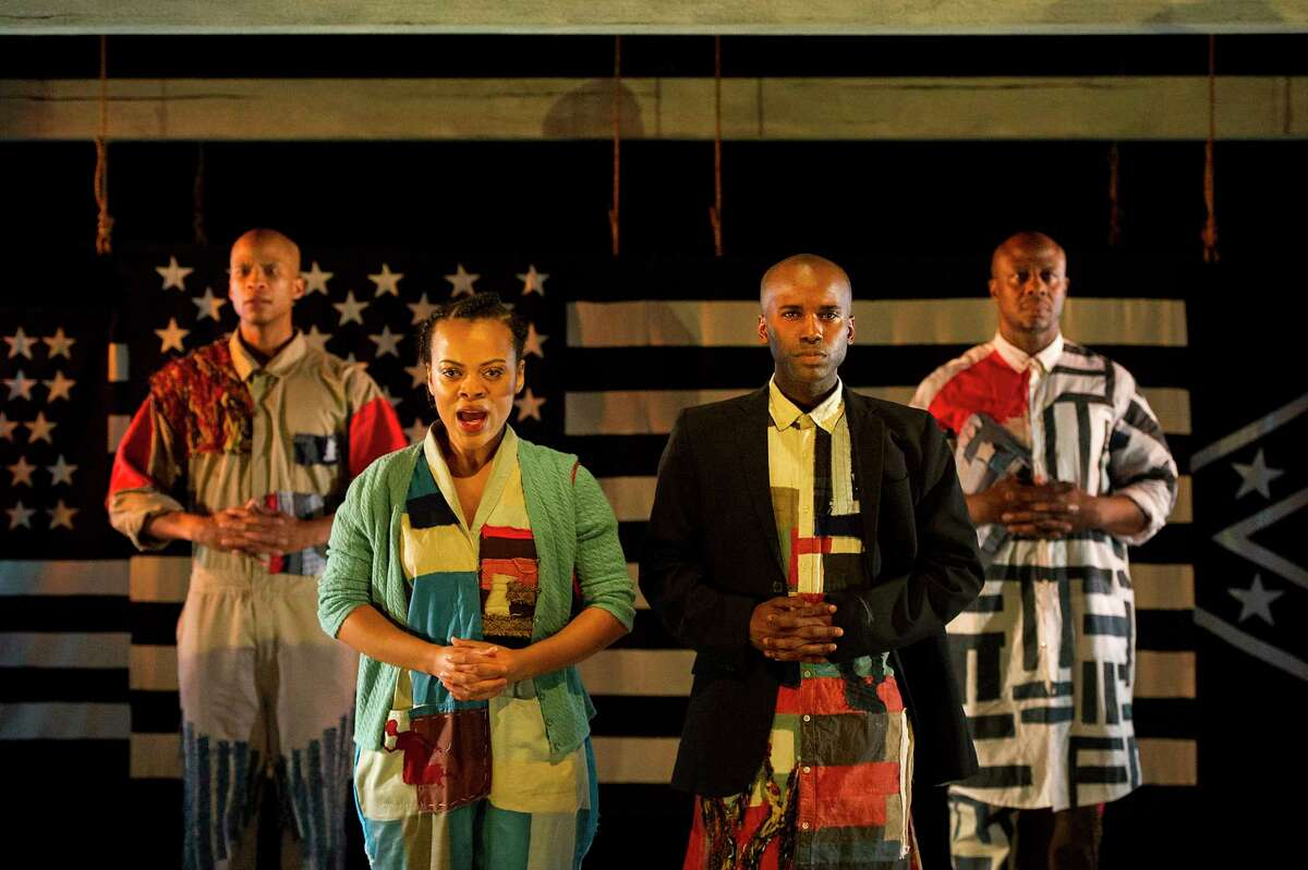 """The cast of the Barrington Stage Company production of """"America v. 2.1: The Sad Demise & Eventual Extinction of The American Negro"""" includes, from left,Peterson Townsend, Kalyne Coleman, Jordan Barrow and Ansa Akyea. (BSC publicity photo by Daniel Rader.)"""