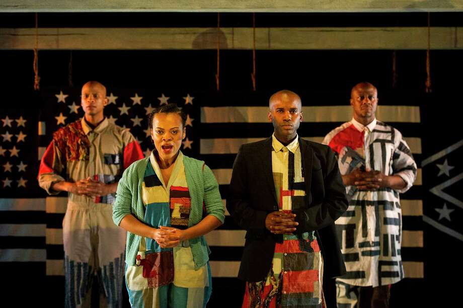 """The cast of the Barrington Stage Company production of """"America v. 2.1: The Sad Demise & Eventual Extinction of The American Negro"""" includes, from left,Peterson Townsend, Kalyne Coleman, Jordan Barrow and Ansa Akyea. (BSC publicity photo by Daniel Rader.) Photo: Daniel Rader, Barrington Stage Company"""