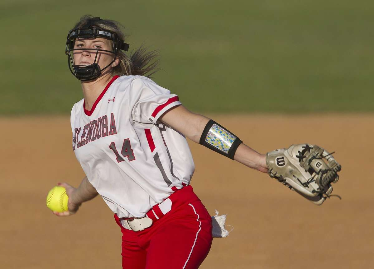Splendora starting pitcher Caleigh Millican (4) throws during the first inning of a District 21-4A high school softball game, Tuesday, March 26, 2019, in Splendora.