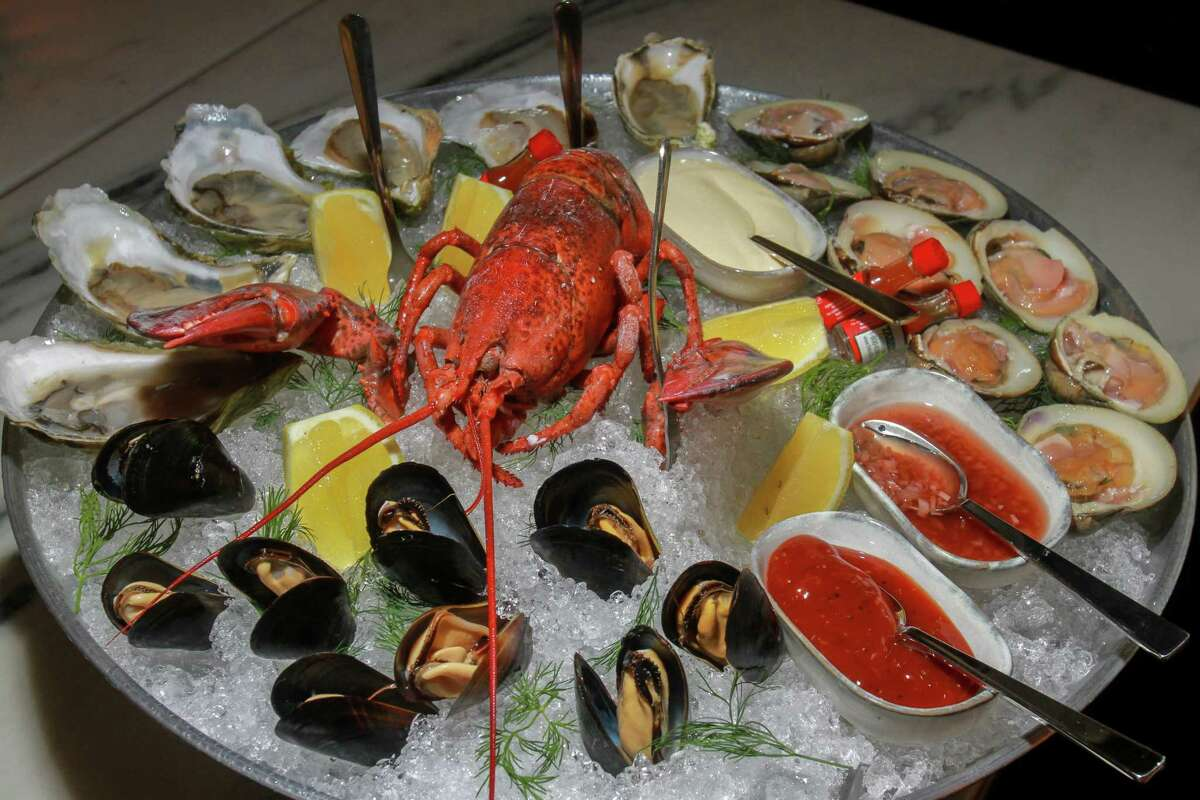 A shellfish tower at Loch Bar, a new restaurant at River Oaks District.