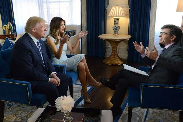 President Donald Trump and First Lady Melania Trump are interviewed by George Stephanopoulos in Trump's private quarters at Trump International Hotel in Washington, D.C., for Good Morning America exclusive in October 2016. In a more recent interview, Stephanopoulos questioned Trump on the Mueller report.