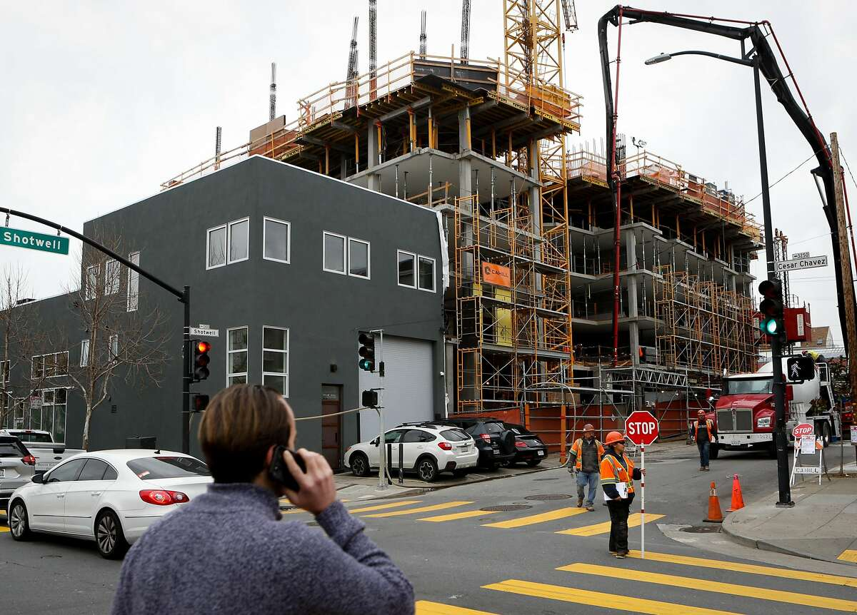 An affordable housing building currently under construction at Ceasar Chavez and Shotwell St. seen on Tuesday, February 12, 2019 in San Francisco, Calif.