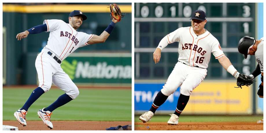 PHOTOS: 2019 Astros game-by-game  Neither Carlos Correa nor Aledmys Diaz will return to the Astros before the All-Star break, manager A.J. Hinch revealed Thursday. >>>See how the Astros have fared in each game this season ...  Photo: Karen Warren; Brett Coomer/Houston Chronicle