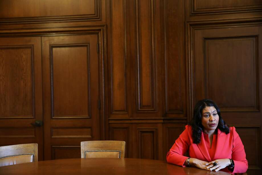 Mayor London Breed answers a question from Chronicle reporter Heather Knight during an interview at City Hall in San Francisco, Calif., onTuesday, February 5, 2019. Photo: Yalonda M. James / The Chronicle