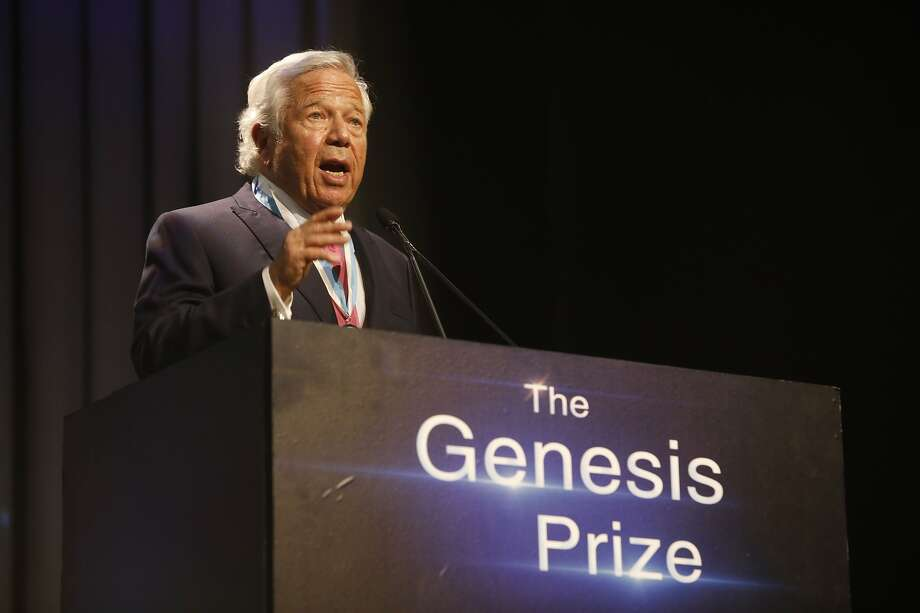 New England Patriots owner Robert Kraft, speaks after receiving Genesis Prize in Jerusalem, Thursday, June 20, 2019. Israel honored Kraft with the 2019 Genesis Prize for his philanthropy and commitment to combatting anti-Semitism. (AP Photo/Sebastian Scheiner) Photo: Sebastian Scheiner / Associated Press