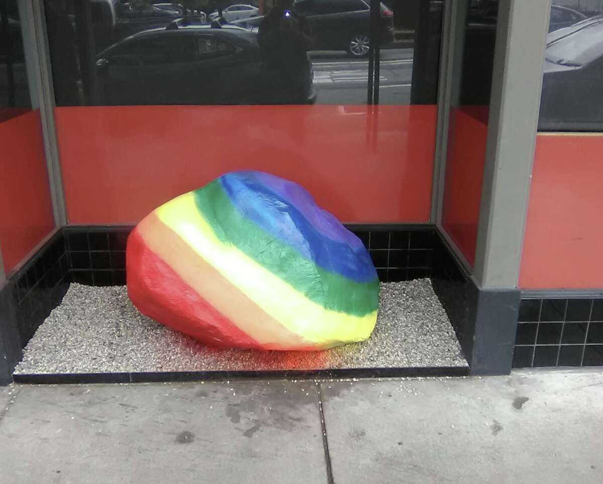 In a tweet that went viral, the Coalition on Homelessness accused Izakaya Sushi Ran for posturing as inclusive while using anti-homeless architecture: a rock painted rainbow for LGBTQ Pride. However, the Coalition on Homelessness has since admitted their error and apologized after learning the rock was intended to be part of a Japanese zen garden.
