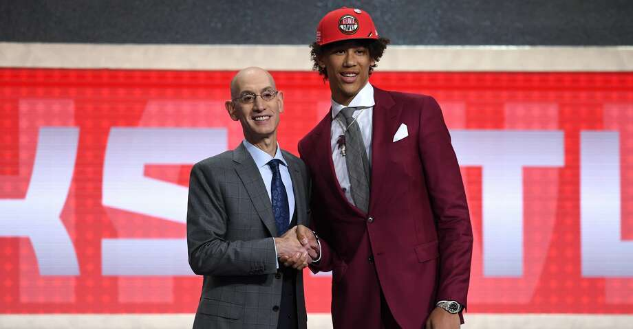 NEW YORK, NEW YORK - JUNE 20: Jaxson Hayes poses with NBA Commissioner Adam Silver after being drafted with the eighth overall pick by the Atlanta Hawks during the 2019 NBA Draft at the Barclays Center on June 20, 2019 in the Brooklyn borough of New York City. NOTE TO USER: User expressly acknowledges and agrees that, by downloading and or using this photograph, User is consenting to the terms and conditions of the Getty Images License Agreement. (Photo by Sarah Stier/Getty Images) Photo: Sarah Stier/Getty Images