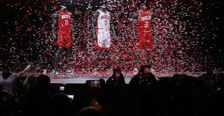 New 2019-2020 Houston Rockets jerseys designs are unveiled at the Toyota Center on Thursday, June 20, 2019, in Houston.