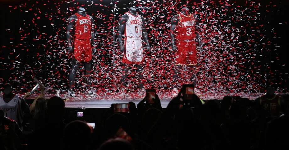 New 2019-2020 Houston Rockets jerseys designs are unveiled at the Toyota Center on Thursday, June 20, 2019, in Houston. Photo: Jon Shapley/Staff Photographer
