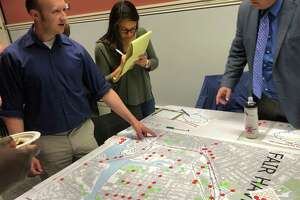 """New Haven residents and others attend a """"Safe Routes for All"""" workshop to determine the areas in most need of improvement at the Ives Memorial Library on Thursday, June 20, 2019."""