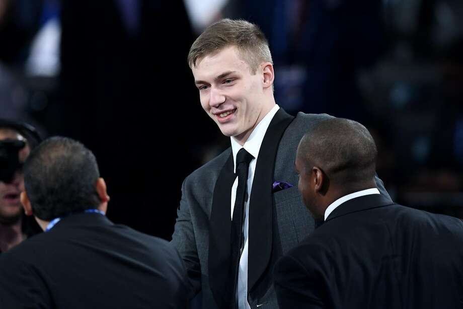 NEW YORK, NEW YORK - JUNE 20: Luka Samanic reacts after being drafted with the 19th overall pick by the San Antonio Spurs during the 2019 NBA Draft at the Barclays Center on June 20, 2019 in the Brooklyn borough of New York City. NOTE TO USER: User expressly acknowledges and agrees that, by downloading and or using this photograph, User is consenting to the terms and conditions of the Getty Images License Agreement. (Photo by Sarah Stier/Getty Images) Photo: Sarah Stier, Getty Images